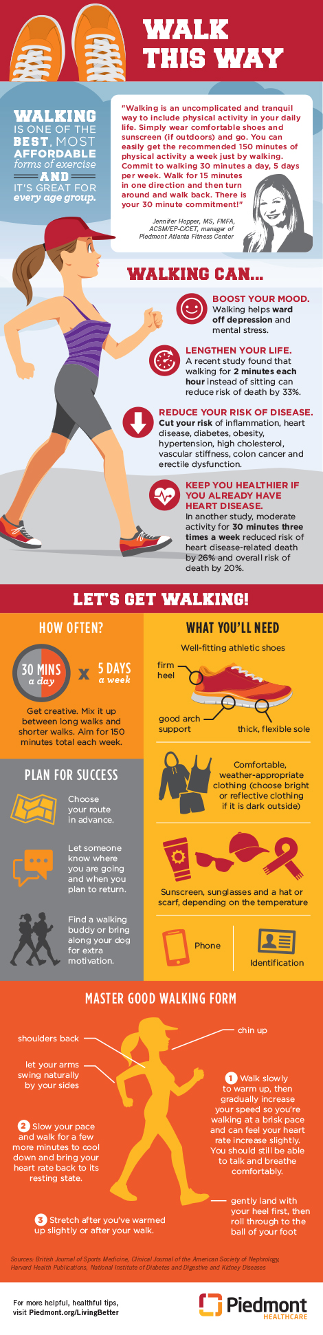 Graphic on the benefits of walking.