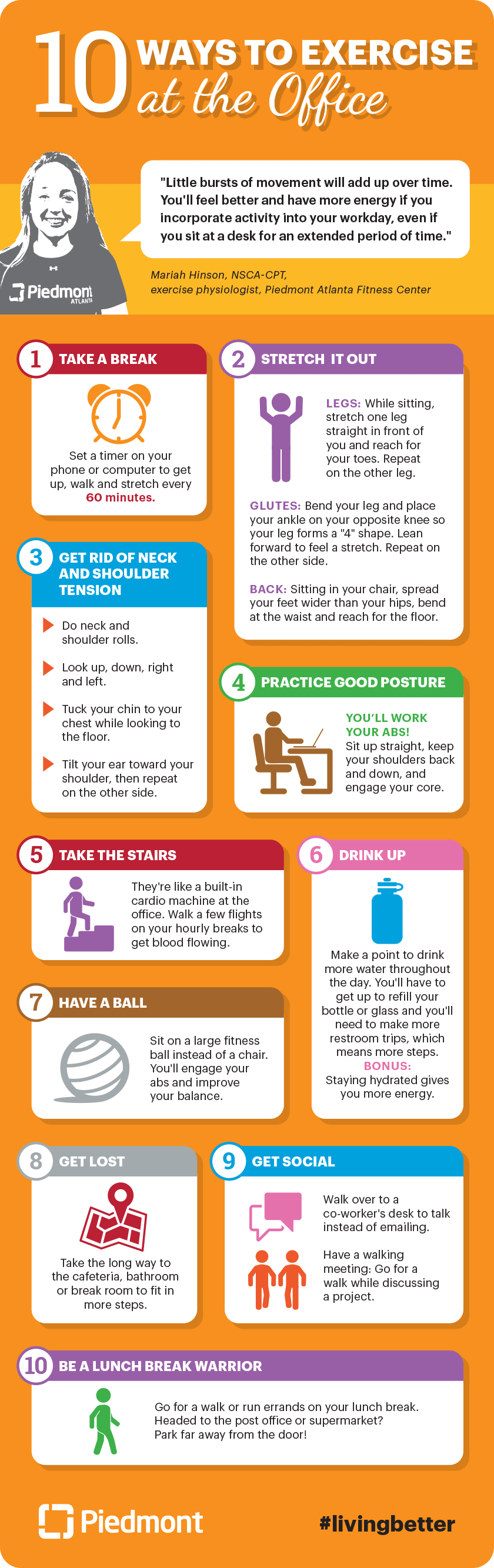 10 ways to exercise at the office