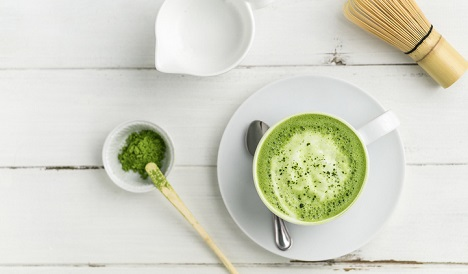 Matcha tea on a plate.