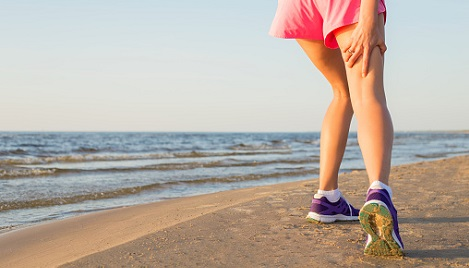 Pulled muscle while running on the beach.
