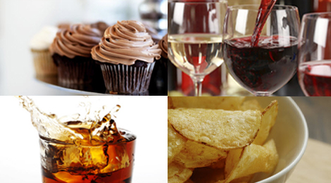 Desserts, wine, chips, and cola.
