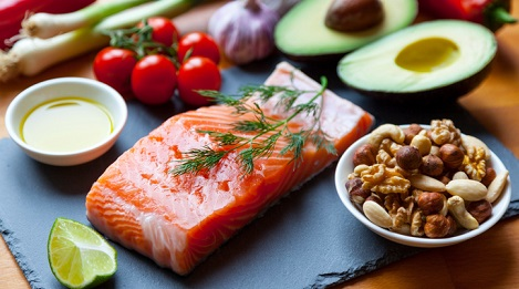 Salmon, nuts, avocado, and tomatoes.