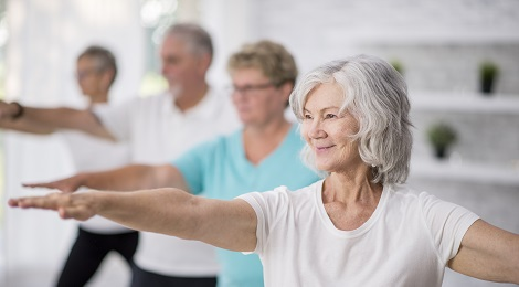 An elderly exercise class.