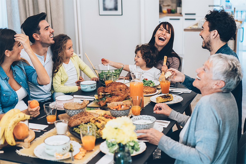 A family shares a holiday dinner.