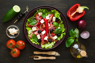 Horiatiki Salata (Country Greek Salad with Tomatoes, Cucumbers and Feta)