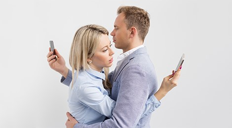 Couple on the smart phones.