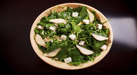 Pear, Arugula and Padron Salad with a Warm Bacon Vinaigrette Recipe