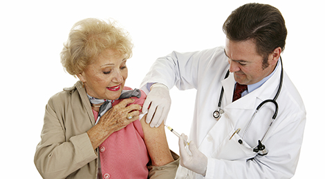 Adults getting a flu shot.