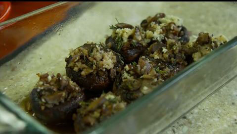 Thyme-stuffed mushrooms on a plate