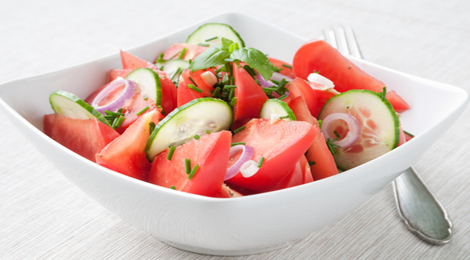 Baby Tomato and Cucumber Salad with Cucumber Vinaigrette