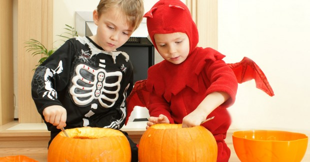 Kids celebrating Halloween