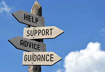 Help, Support, Advice and Guidance sign