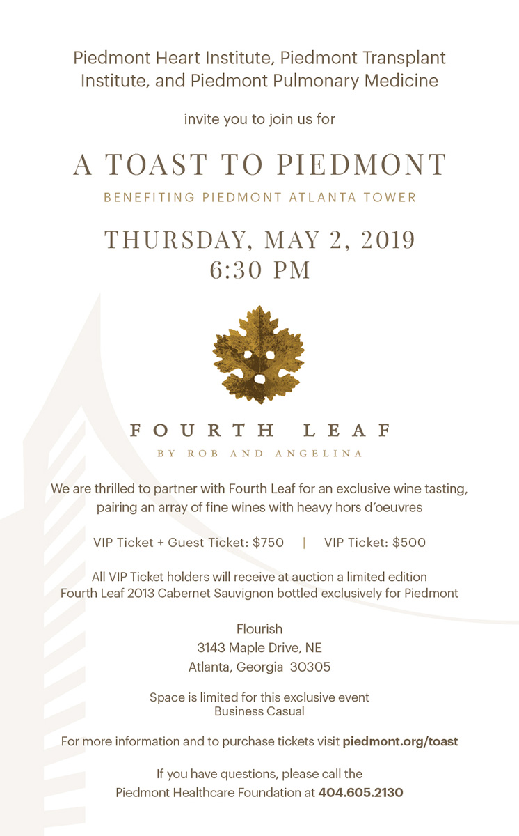 A Toast to Piedmont - Thursday, May 2, 2019 at 6:30pm