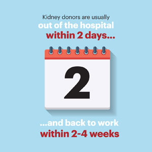 Kidney donors are usually out of the hospital within 2 days