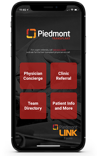 Piedmont Transplant App Screen 1