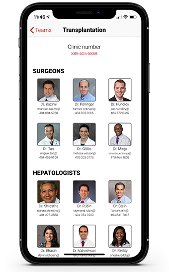 Piedmont Transplant App Screen 3